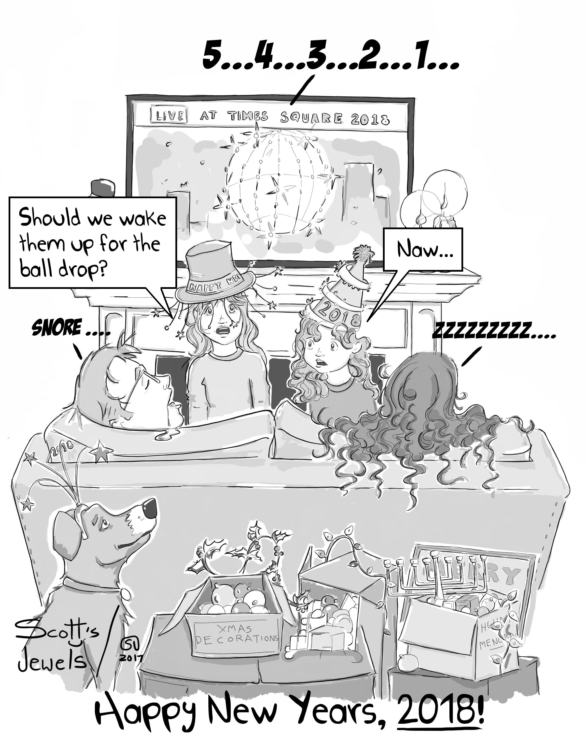 Happy New Years 2018 We Fell Asleep Midnight Parenting Fail Family Holidays #Comic