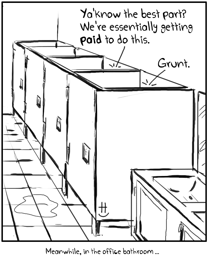 timecard clock in bathroom payday corporate employee comic