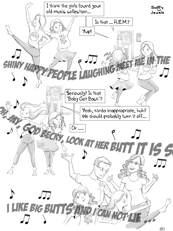 80's Sir-Mix-A-Lot Music Parenting Fail Dancing Karaoke Kids Bad Lyrics Comic