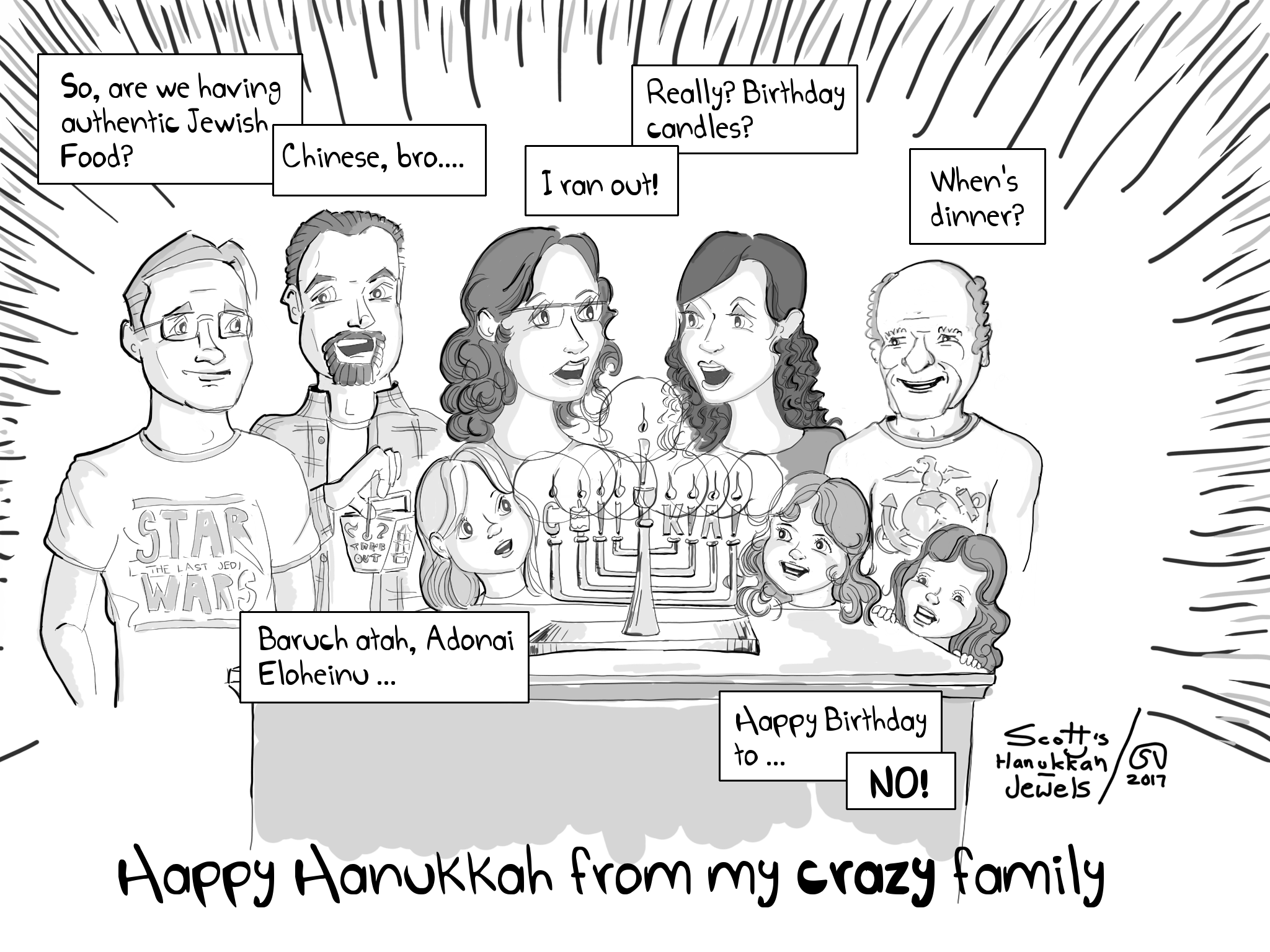 Happy Hanukkah Menorah Holidays Latkes Chinese Food Family Parenting Comic