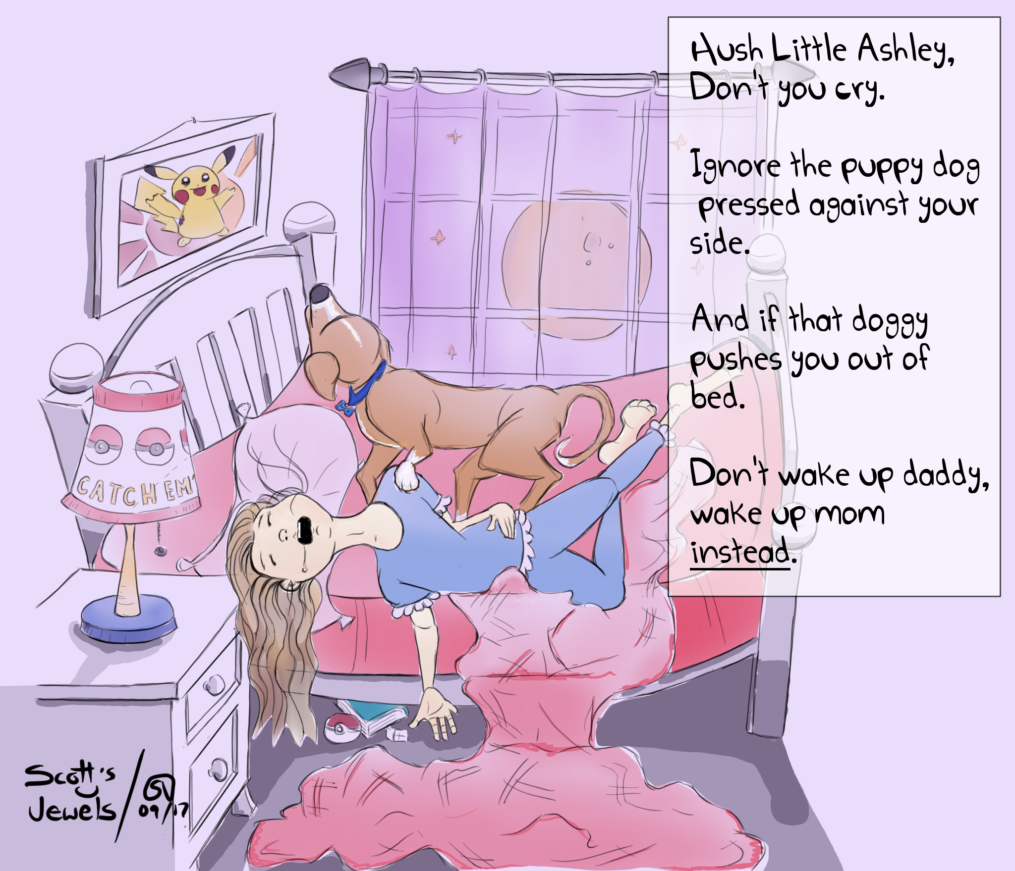 lullaby bedtime bedroom sleepy tucking into bed daughter sleeping with pets dog lover parenting fail comic