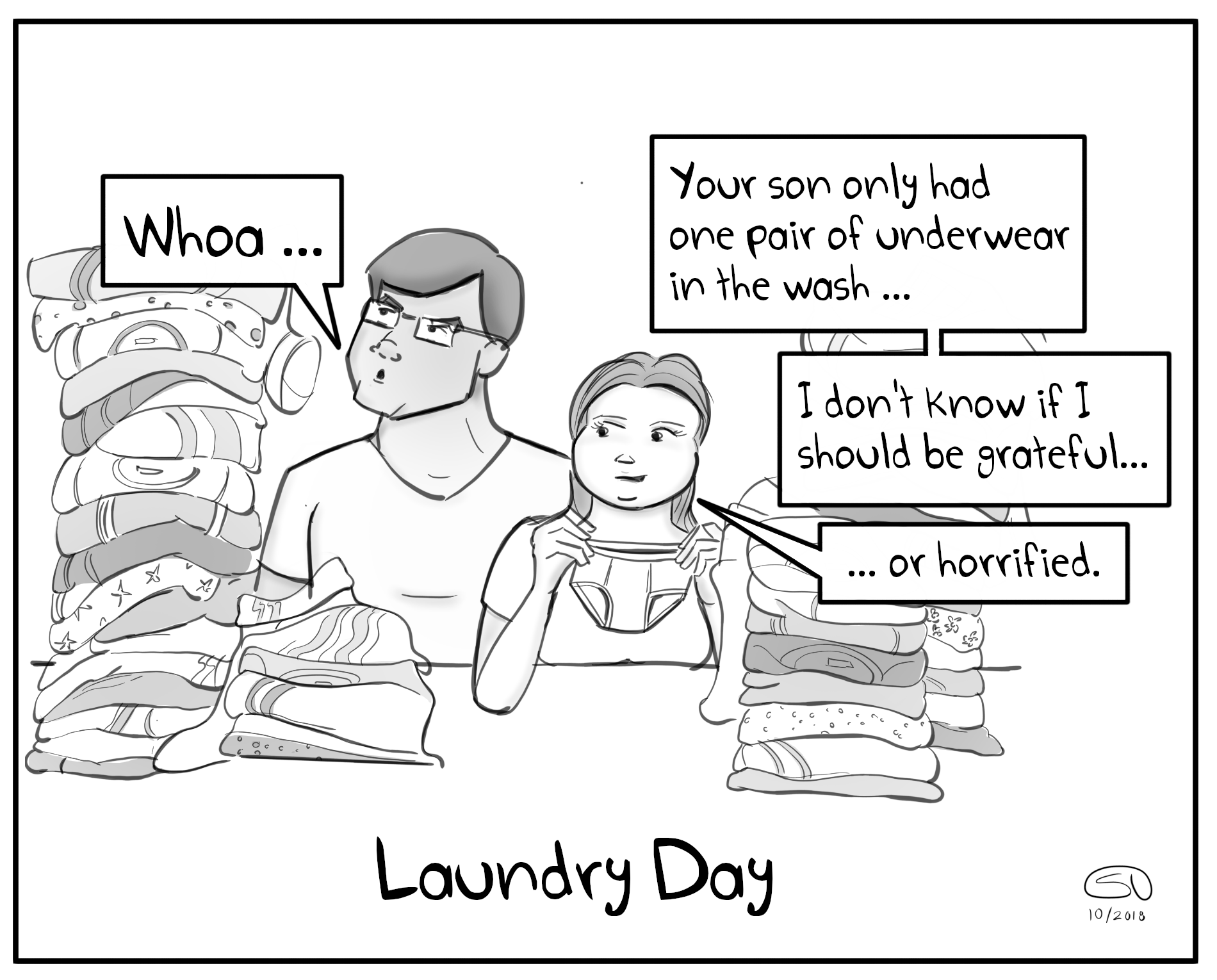 Chores Mom Laundry Day Underwear Kids Laundry Elementary School Family Parenting Comic