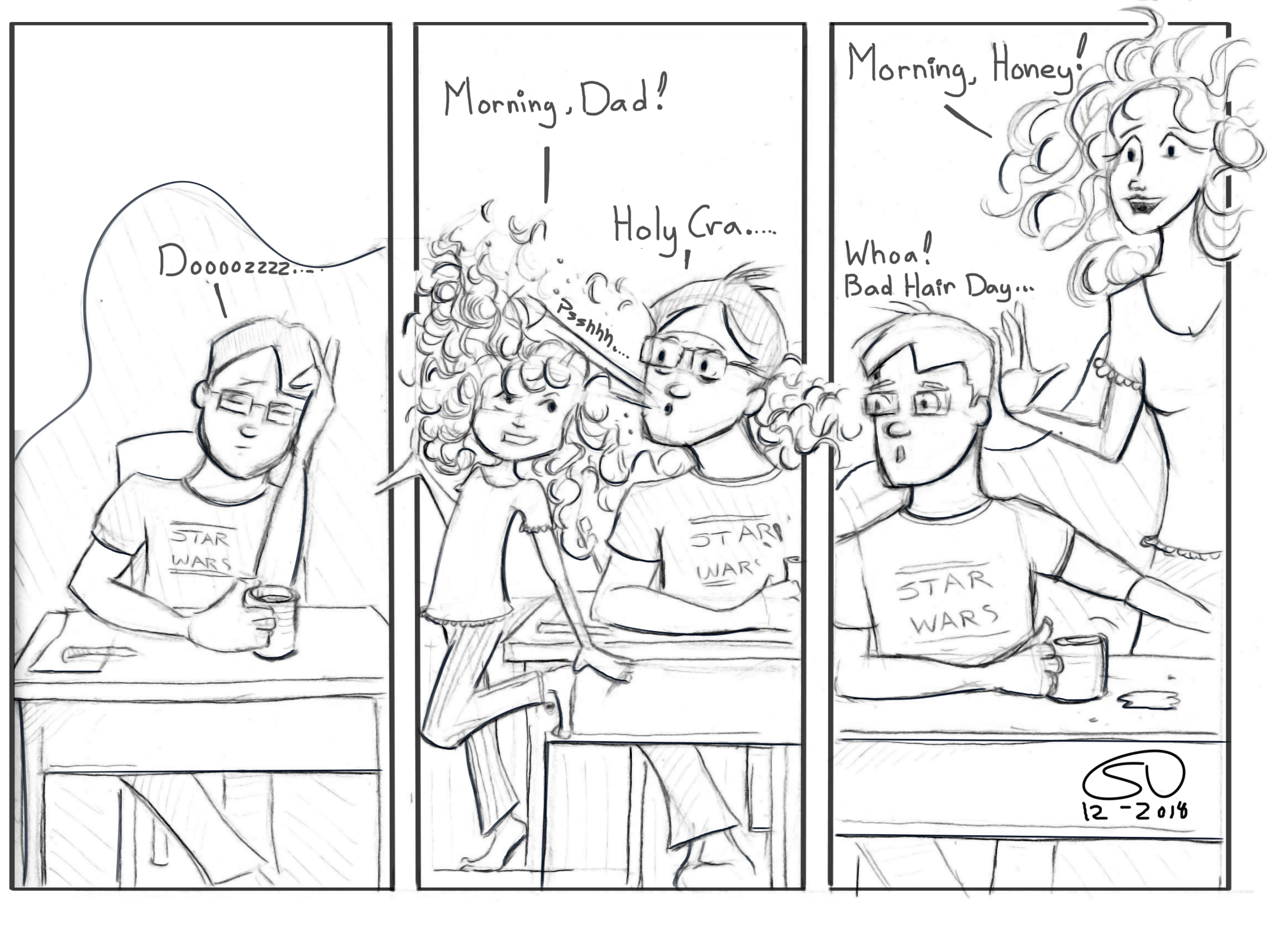 Bed Head Bad Hair Day Morning Person Curly Hair Comic Parenting Family