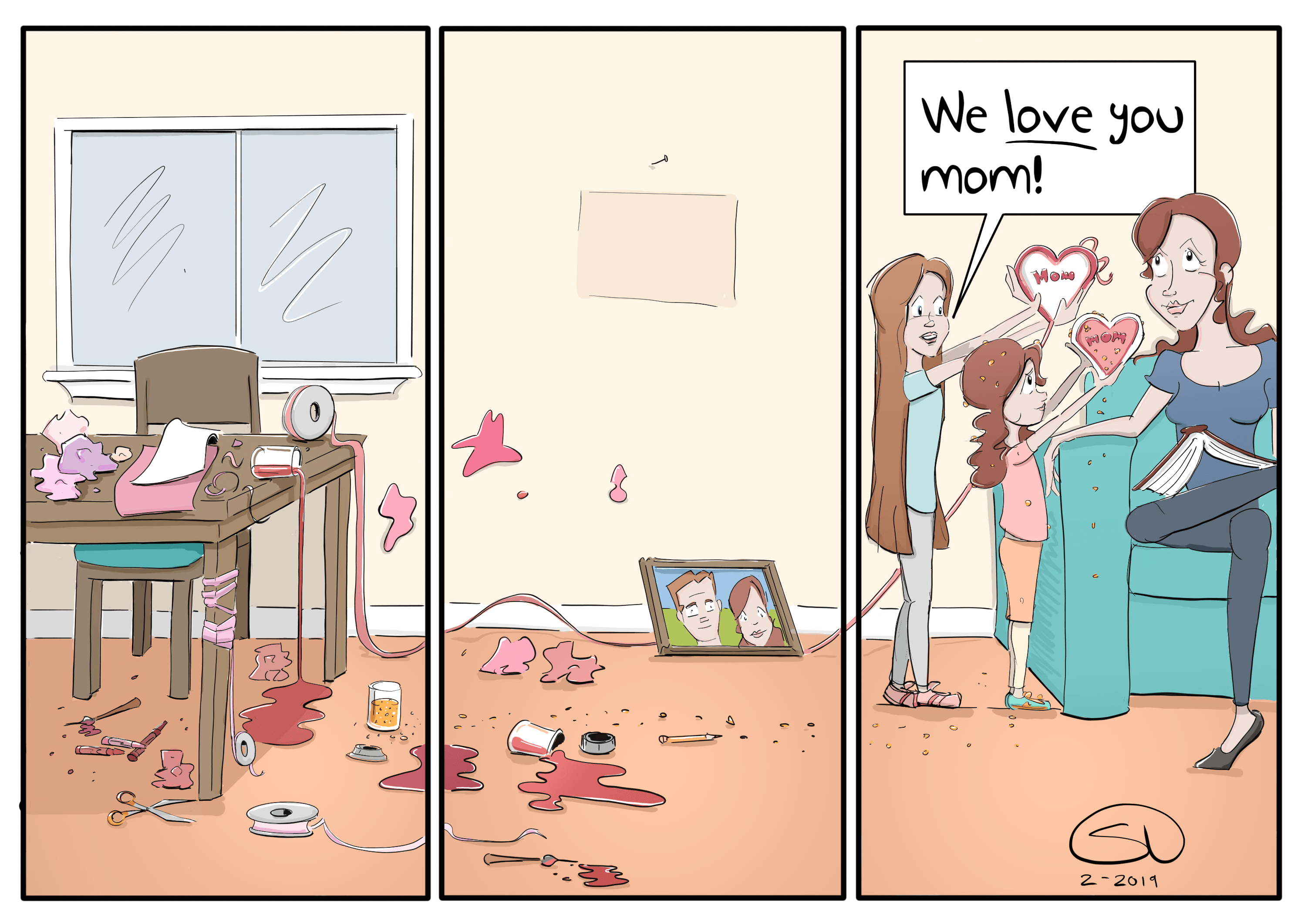 love is messy valentines day card kids comic