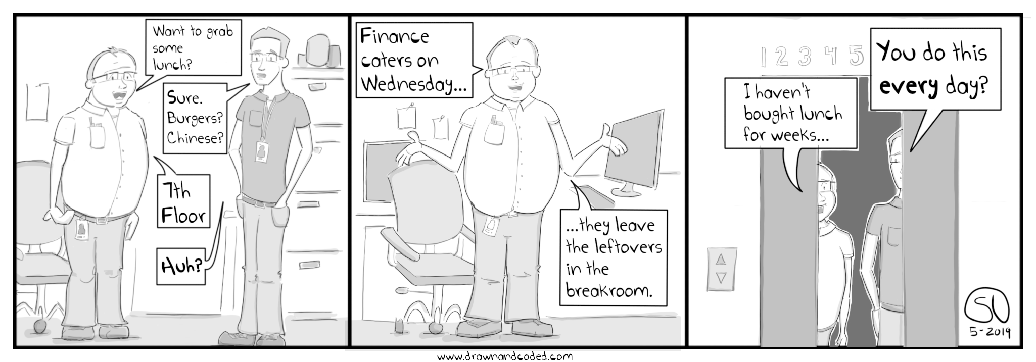 free lunch leftovers breakroom coworker freebie work brownbag comic