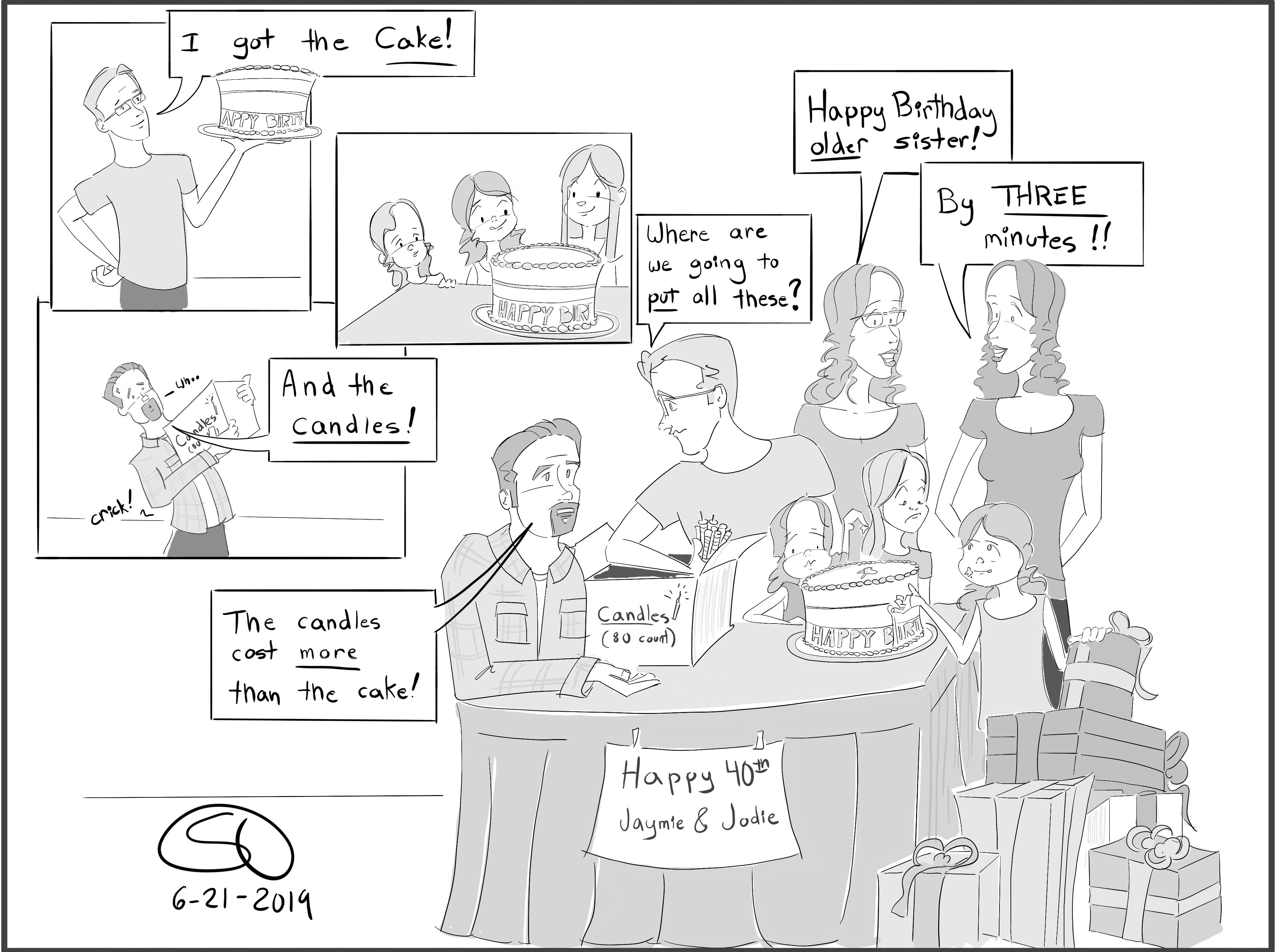 birthday 40th twins candles cake celebrate twins birthday comic