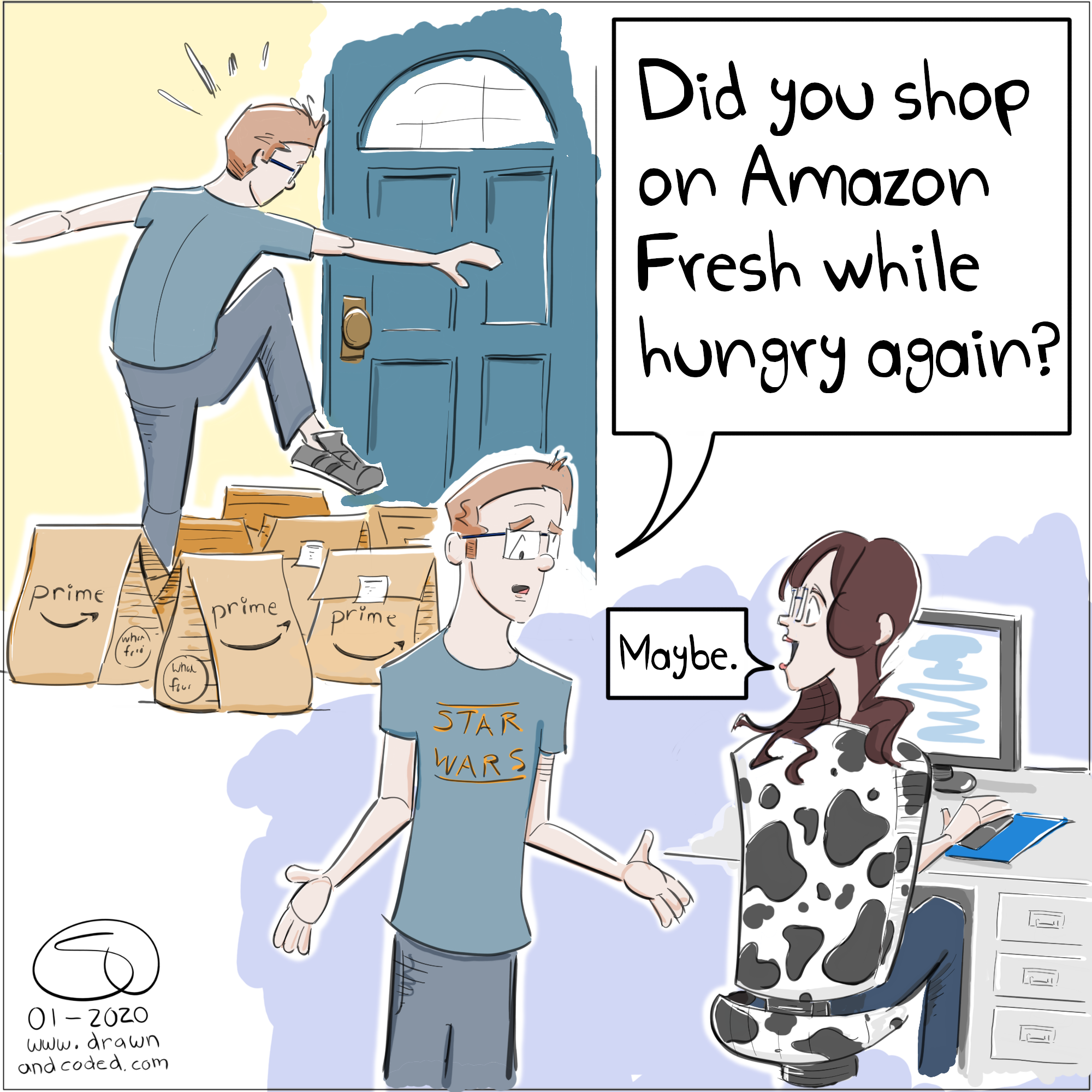 amazon whole foods amazon fresh grocery delivery buy it now fresh foodie grocery store hungry hangry comic