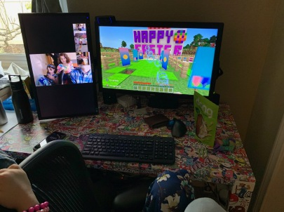 My girls hunting for eggs; Minecraft is on the right, Zoom on the left.