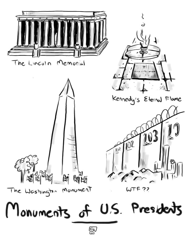 Political Cartoon Trump's Border Wall Lincoln Memorial Kennedy's Eternal Flame Washington's Monument